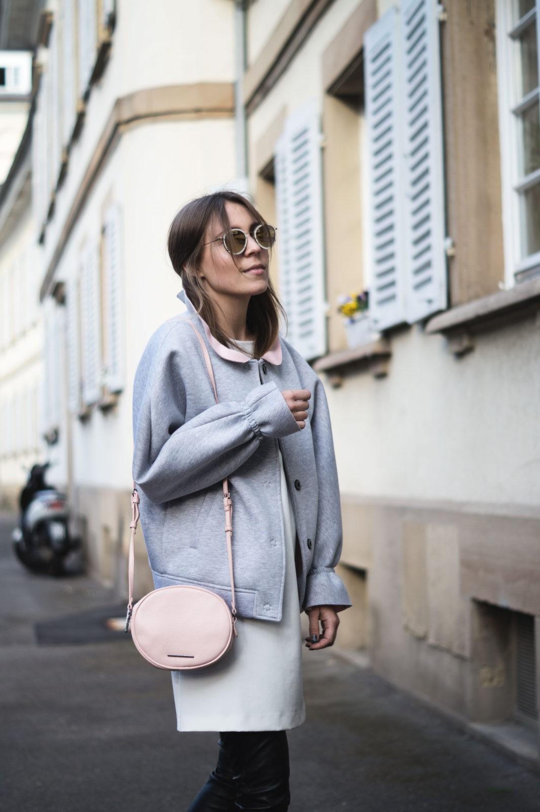 Gray Bomber Jacket Bomberjacke Grau Rueschen Rosa Modeblog Heidelberg Fashionblogger Sariety Liebesglueck Streetstyle