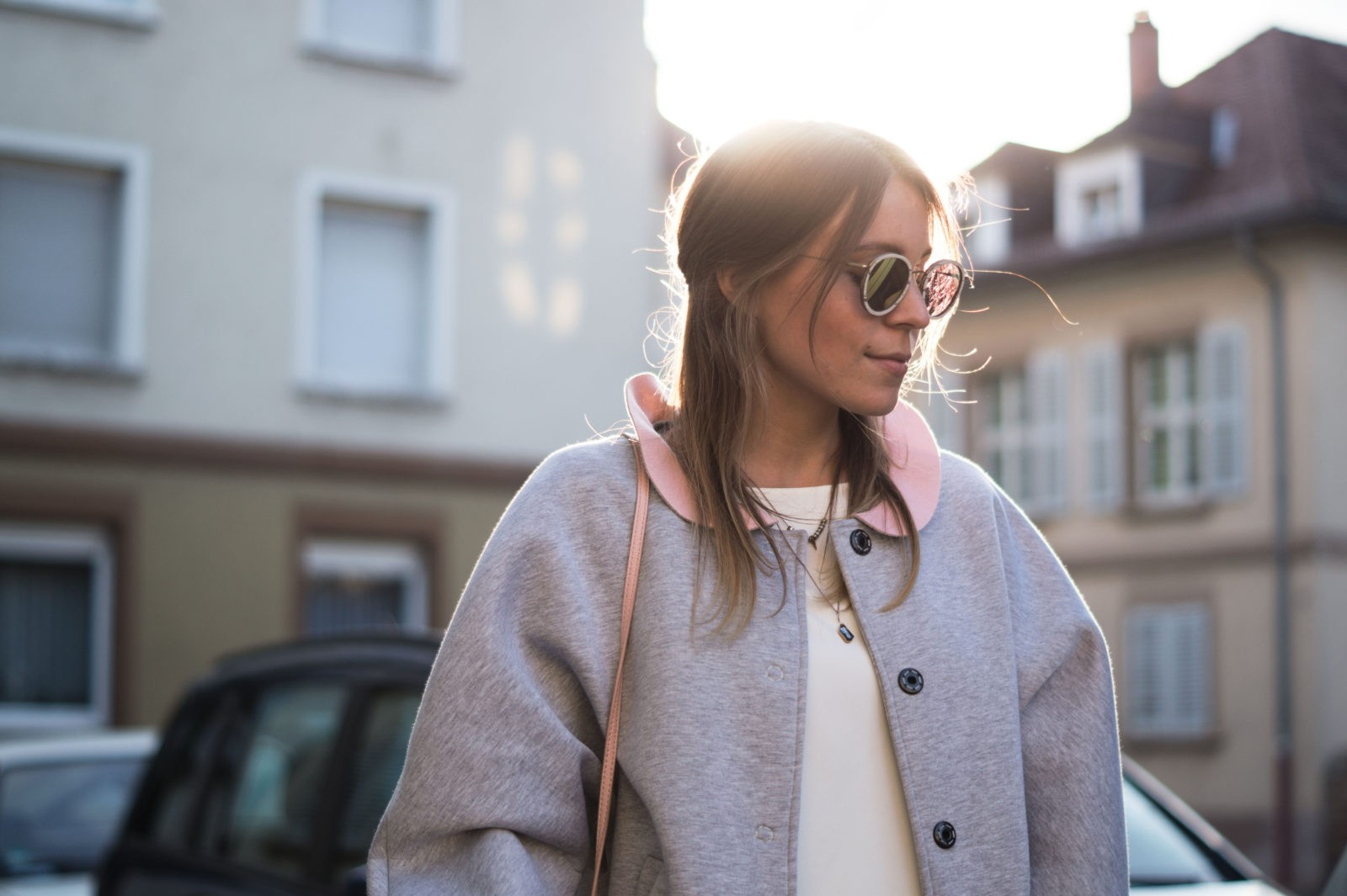 Gray Bomber Jacket Bomberjacke Grau Rueschen Rosa Modeblog Heidelberg Fashionblogger Sonnenuntergang Kerbholz