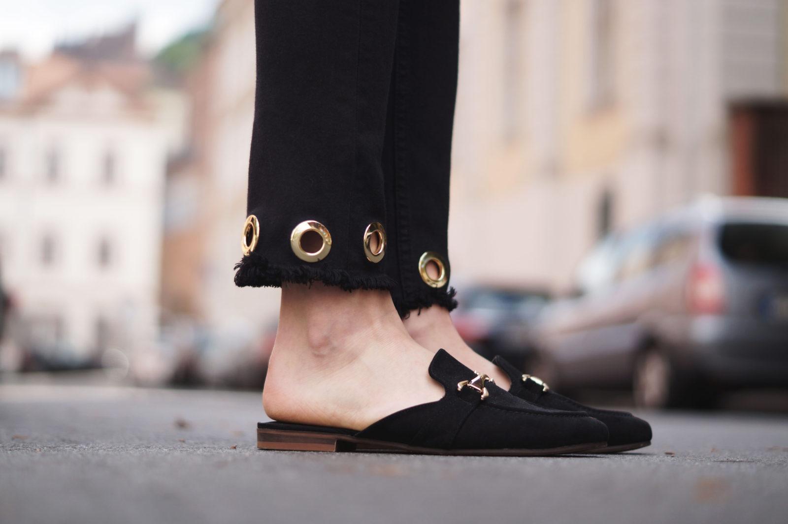 Floral Summer Dress Zara Jumpsuit Black Loafers Pantoletten Sommerkleid Streetstyle Heidelberg Sariety Modeblog Details Schuhe
