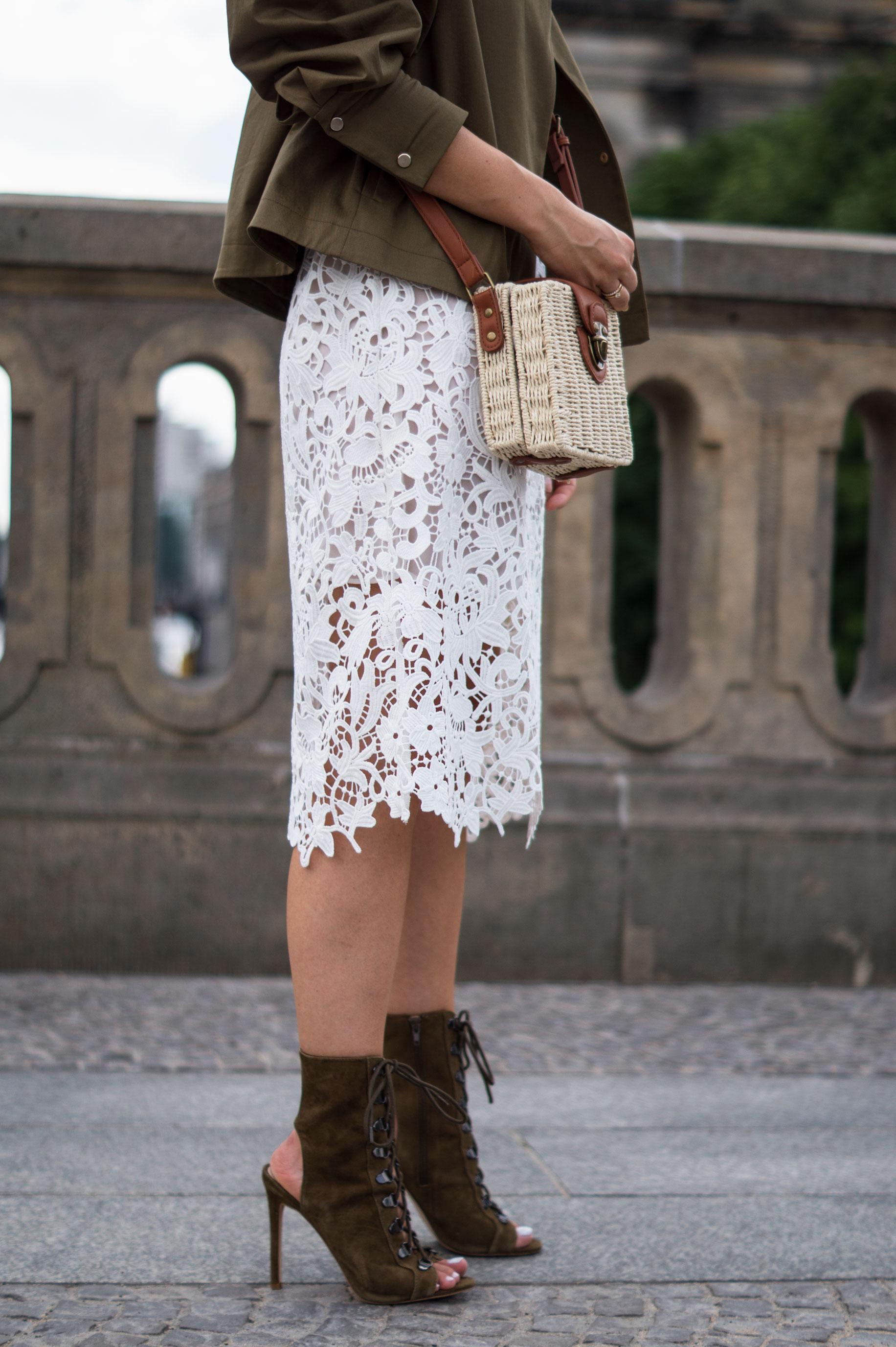 d745bb71b Puff Sleeve Jacket Mango Zara Lace Dress White Sariety Fashionblogger Lace  Up Heels Steve Madden Stilettos Puffärmel Korbtasche Basket Bag Berlin  Modeblog ...