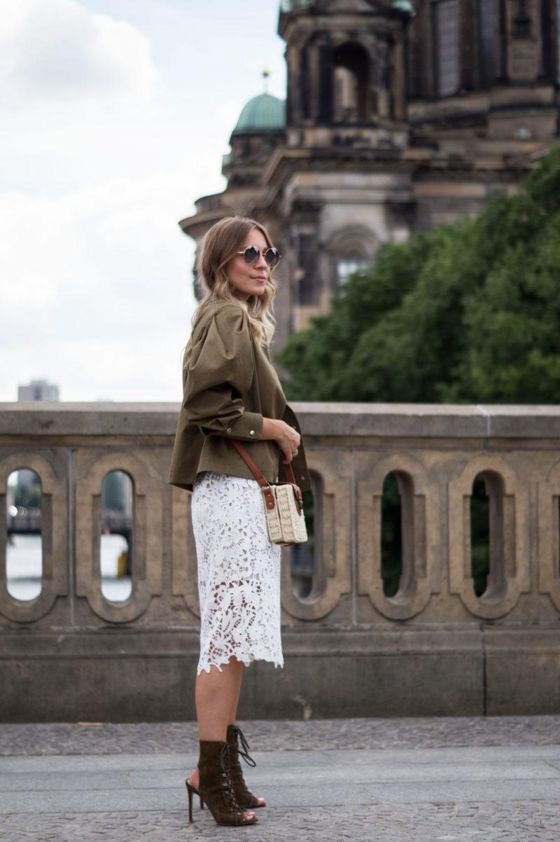 Berlin FW   Puff Sleeve Jacket, Lace Dress & Basket Bag