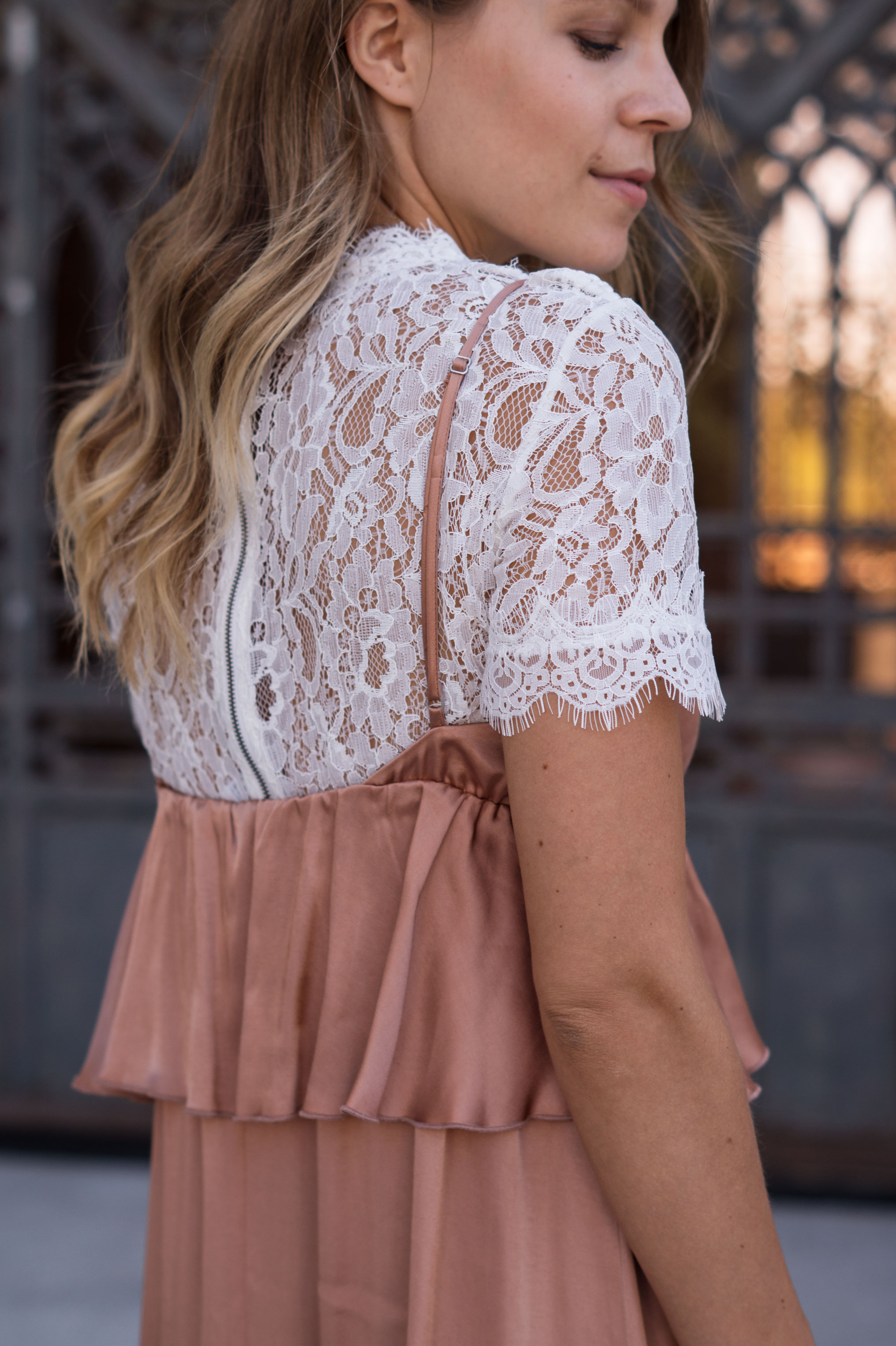 Copper Slipdress rosa Satinkleid silk dress ruffles Rüschenkleid H&M Sariety Modeblog Heidelberg Fashionblogger Milan Mailand Shooting-23