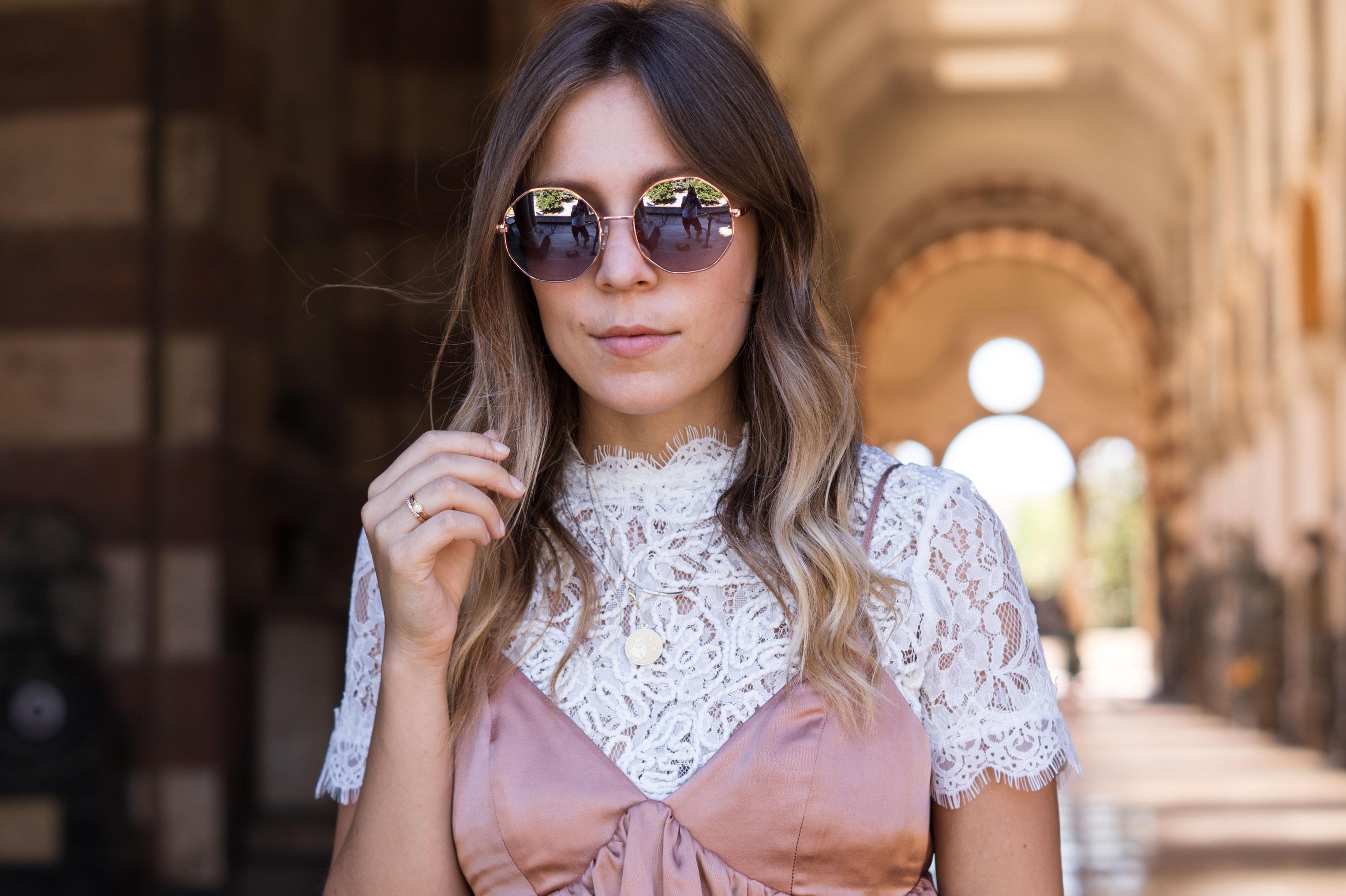 Copper Slipdress rosa Satinkleid silk dress ruffles Rüschenkleid H&M Sariety Modeblog Heidelberg Fashionblogger Milan Mailand Shooting-4