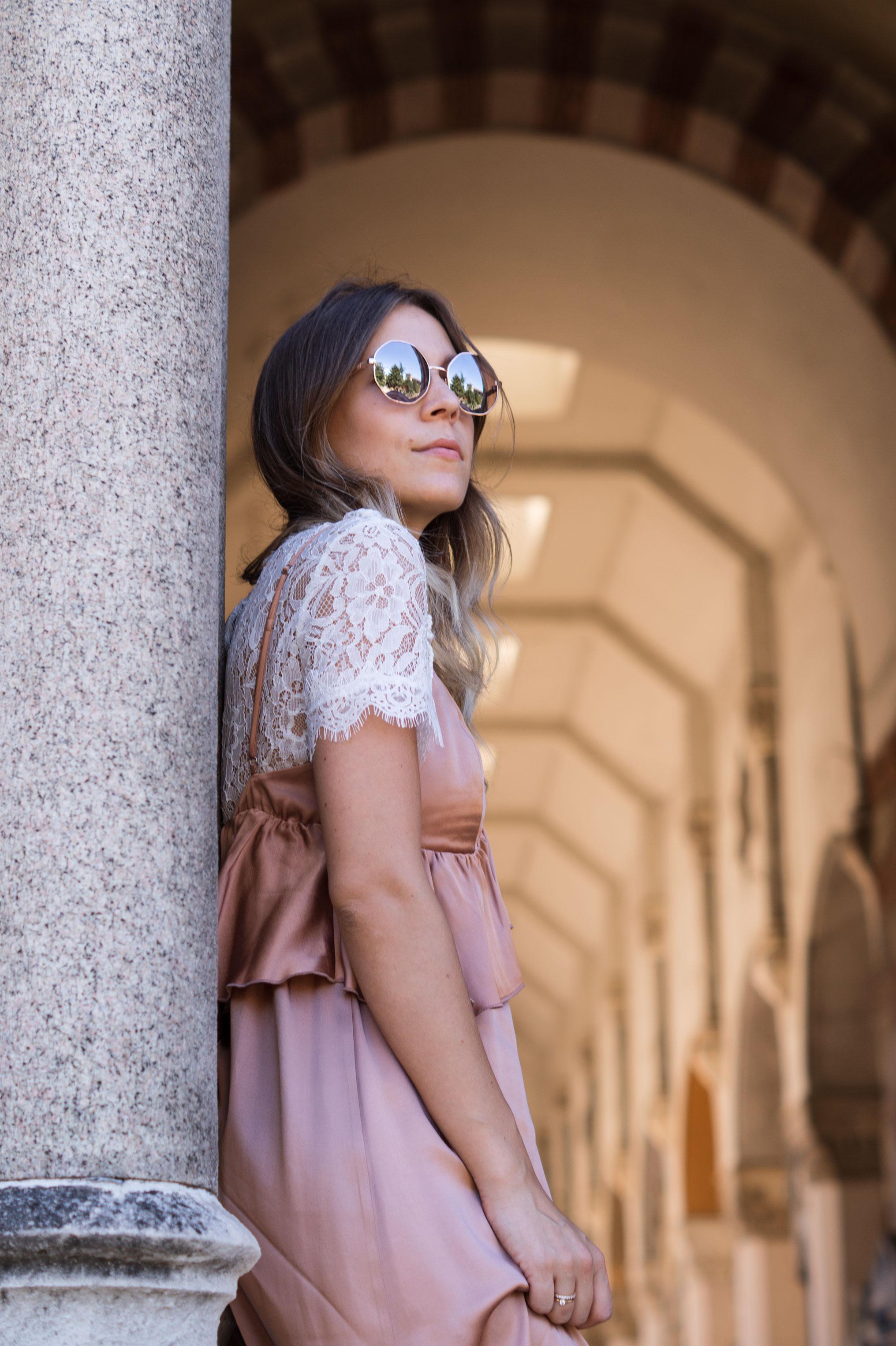 Copper Slipdress rosa Satinkleid silk dress ruffles Rüschenkleid H&M Sariety Modeblog Heidelberg Fashionblogger Milan Mailand Shooting-7