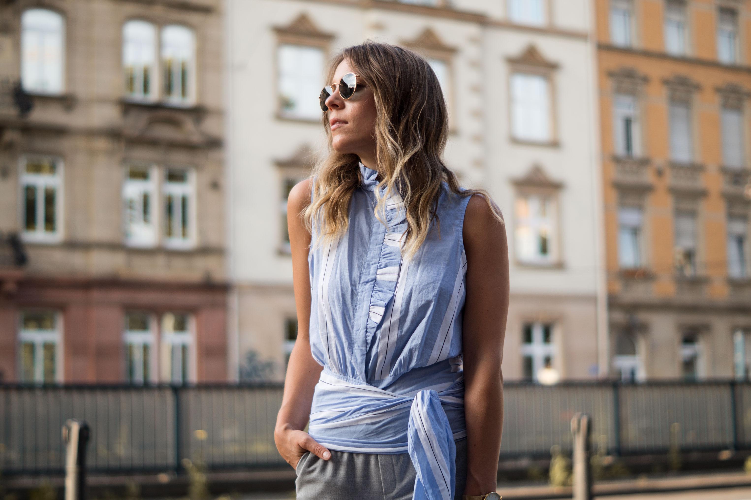 Mango Wrap Blouse Knotenbluse Joggers Sariety Fashionblogger Modeblog Heidelberg Streetstyle-7