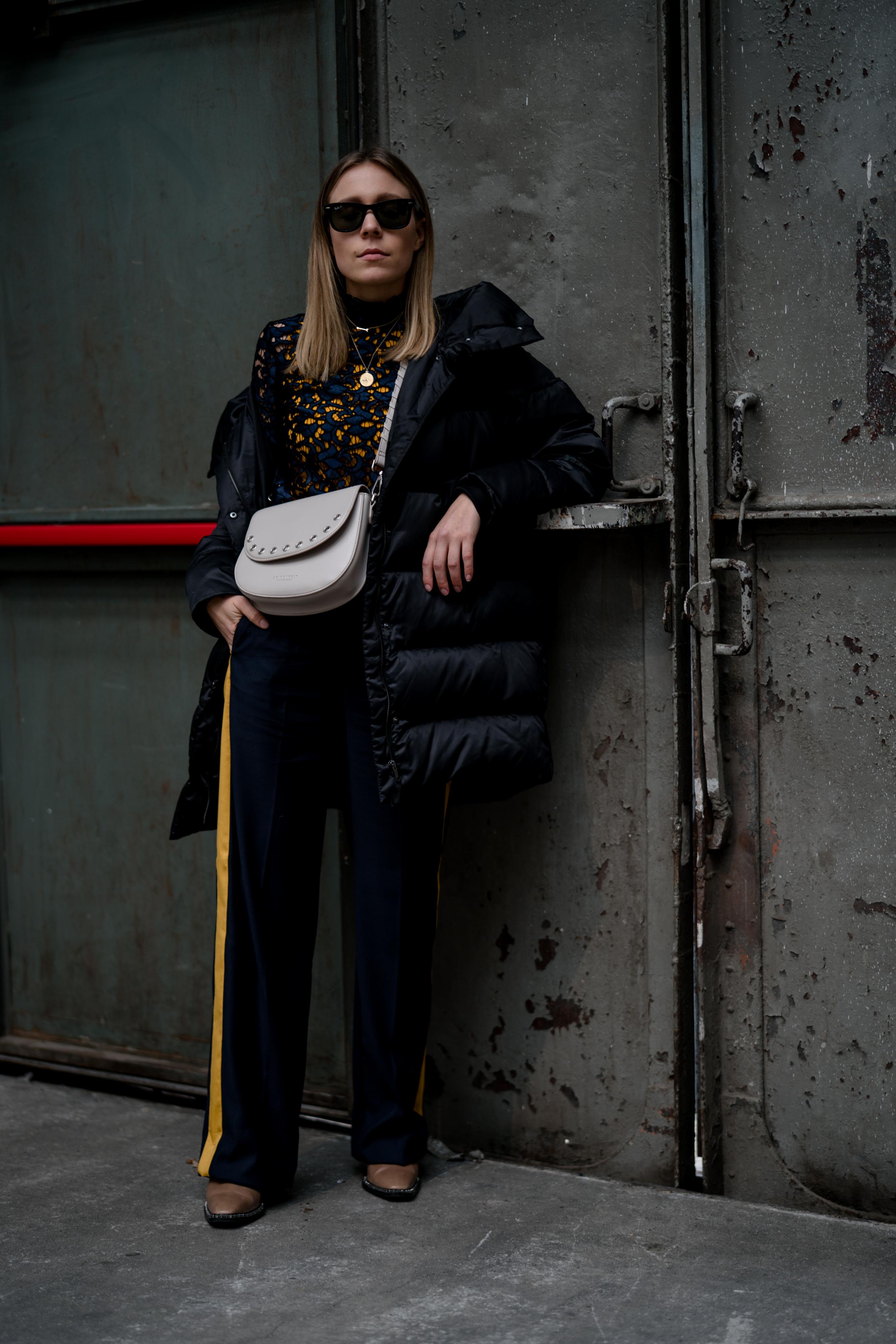 milan fw track pants lace turtleneck amp down jacket